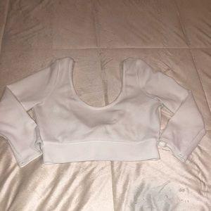 2 Cute Bow White Crop Top